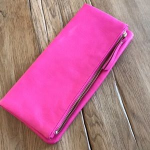 Banana Republic Foldover Pink Leather Clutch